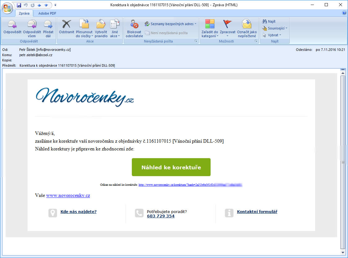 email s odkazen na náhled novoročenky